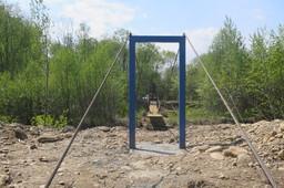Construction of the bridge across Osinovka River